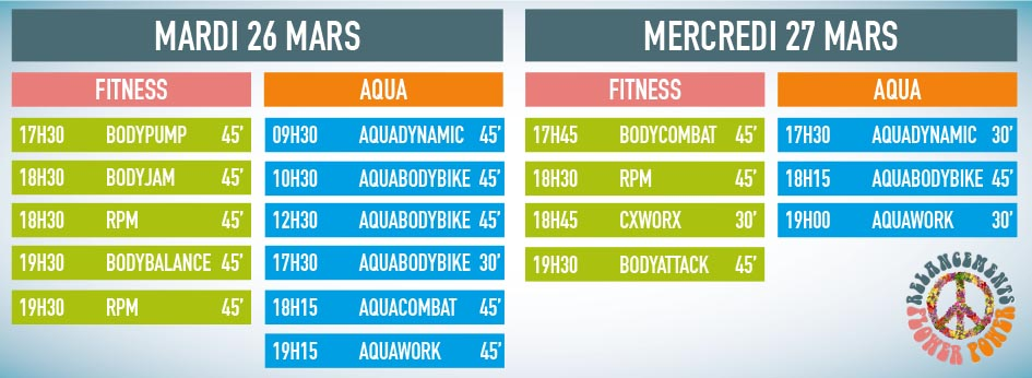 planning fitness cours relancements